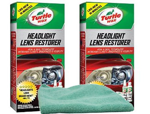Turtle Wax Headlight Lens Restorer Bundle with Microfiber Cloth (3 Items)