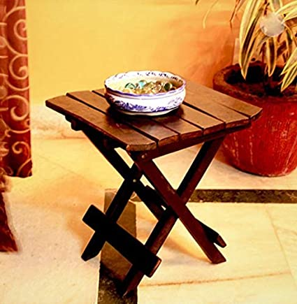 Worthy Shoppee Wooden Folding Table For Living Room 12x12x12 Inch