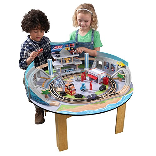 KIDKRAFT Disney Pixar Cars 3 Florida 55+ Piece Wooden Track Set with Accessories and Table