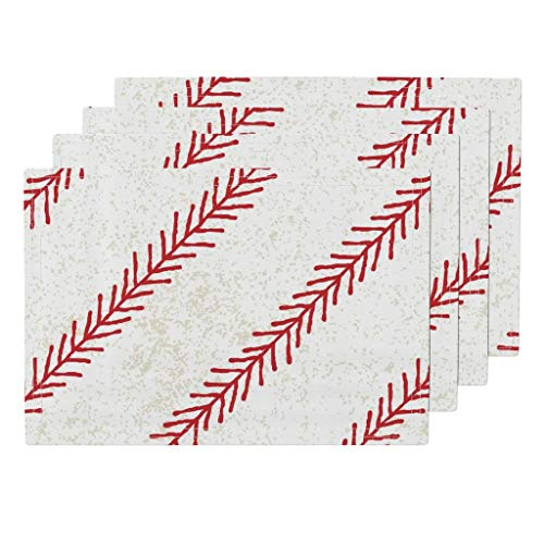 Roostery Baseball 4pc Eco Canvas Cloth Placemat Set - Baseball Stitch Sport Ball Kids Classic American Summer Baseball Ball Game Bat Ball Stitch by Nick Neuman (Set of 4) 13 x 19in