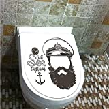 Toilet Cover Decoration,Anchor Decor,Portrait of a Faceless Captain with Hat and Beard Seaman Character Artistic Illustration,Brown White,3D Printing,W12.6