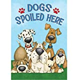 Inverlee Dogs Spoiled Here Garden Flag Welcome Humor Puppies Garden Decoration 12.5 x 18inch (A)