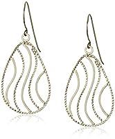 14k Yellow Gold Diamond-Cut Teardrop Dangle Earrings