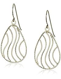 14k Yellow Gold Diamond Cut Tear-Bars Dangle Earrings
