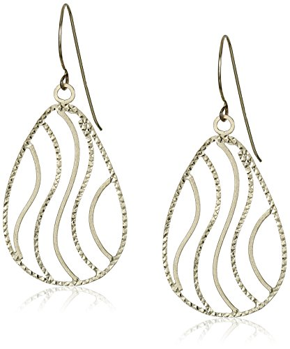 14K Yellow Gold Diamond Cut Teardrop Dangle Earrings
