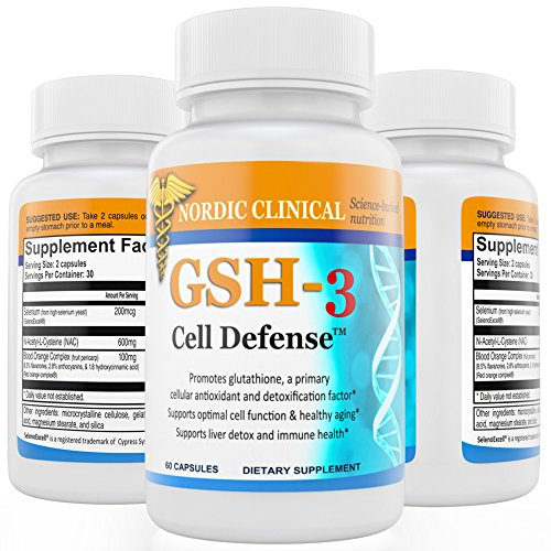 (Nordic Clinical's GSH-3 Cell Defense, (60 capsules, 30Day supply).Antioxidants and Detoxifier with NAC, ROC, SelenoExcell. Promote glutathione, for Protection against free radicals. Boost Antioxidant.)