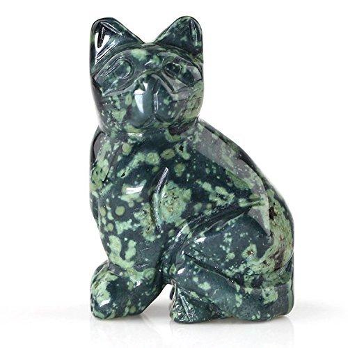 40mm Hand Carved Kambaba Jasper Gemstone Cat Figurine Statue Stone Carving 1.6