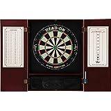 Viper Metropolitan Sisal/Bristle Steel Tip Dartboard & Cabinet Bundle: Deluxe Set (Dead On Dartboard and Darts), Mahogany Finish