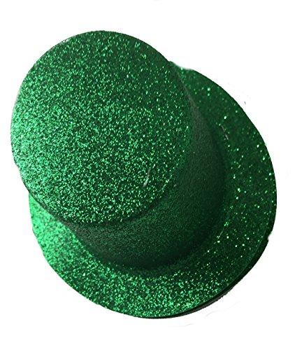 Green Glitter Mini Party Elastic Band Top Hats for St. Patrick's Day Set of (Mini Glitter Hat)