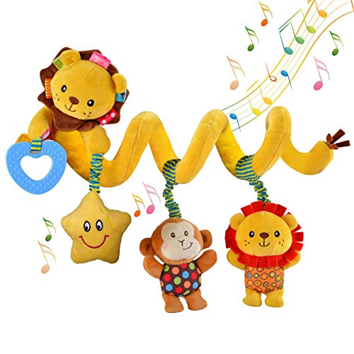 willway Baby Hanging Toys, Infant Baby Spiral Plush Toys for Crib Bed Stroller Bar Car Seat Mobile - with Music Star Rattle Monkey BB ()