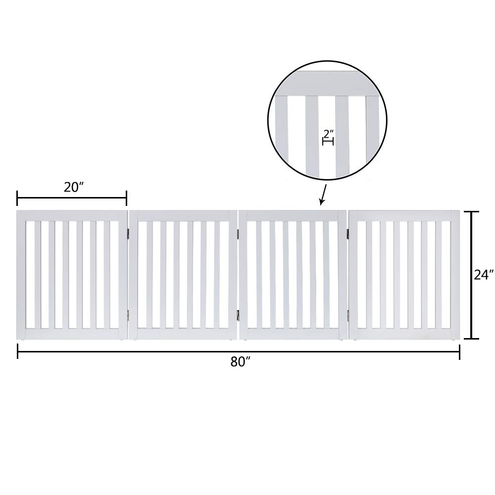 unipaws Freestanding Wooden Dog Gate, Foldable Pet Gate with 2PCS Support Feet Dog Barrier Indoor Pet Gate Panels for Stairs by unipaws (Image #5)