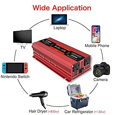 Cantonape 1000W/2000W(Peak) Car Power Inverter DC 12V to 110V AC Converter with LCD Display Dual AC Outlets and Dual USB Car Charger for Car Home Laptop Truck (Red): Automotive