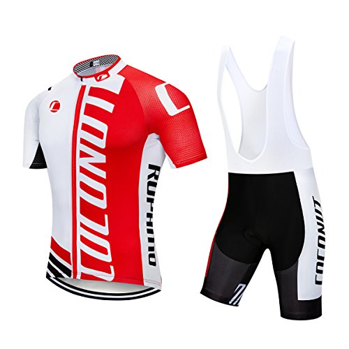 Men's Cycling Jersey Short Sleeve Full Zip Bike Clothing Set Quick-Dry Bib Shorts with 3D Gel Padded (Red/White, S)