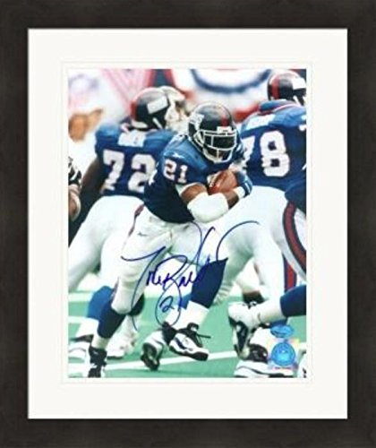 Tiki Barber Signed Photograph - 8x10 Teams All Time Leading Rusher) #6 Matted & Framed - Autographed NFL Photos