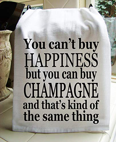 Tabletop Champagne - Sweet Bohemian Life Champagne and Happiness handmade printed Kitchen flour sack towel