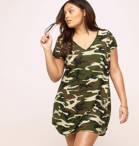 LORALETTE-Womens-Camo-T-Shirt-Dress