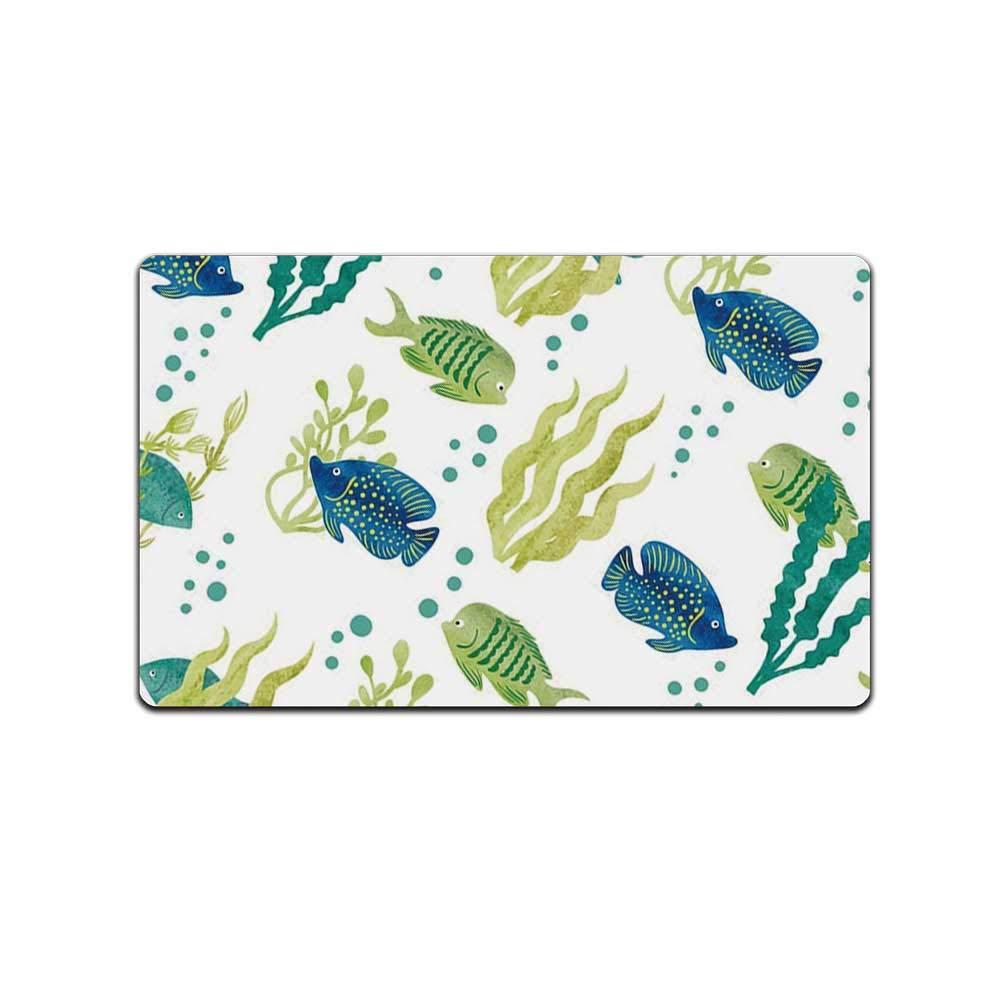 Aquarium Various Print Floor Mat,Different Tropical Fish and Seaweeds Exotic Marine Watercolor Artwork Decorative for Home Office,31''L x 19''W by MOOCOM