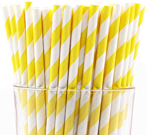 Pack of 150 Yellow Swirls Biodegradable Paper Drinking Straws (FDA-approved, Non-toxic, BPA-free)