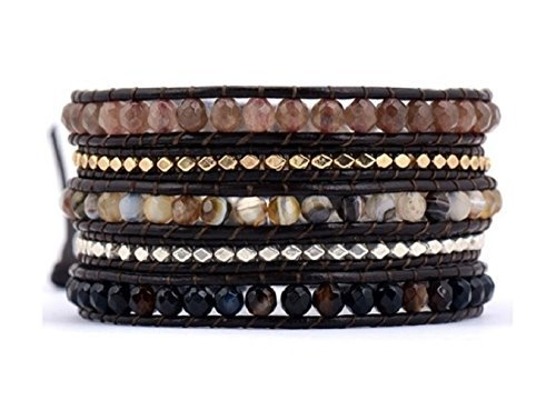 Diva Beaded Bracelets (Beaded Wrap Bracelet - Brown Diva Mix with Silver & Gold Nuggets Wrap Bracelet; Autumn Trending Gift Ideas; Chan Inspired)