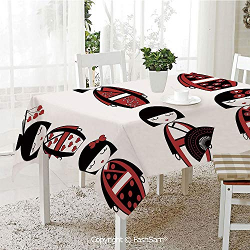 3D Dinner Print Tablecloths Unique Asian Geisha Dolls in Folkloric Costumes Outfits Hair Sticks Kimono Art Image Table Protectors for Family Dinners (W55 xL72) -