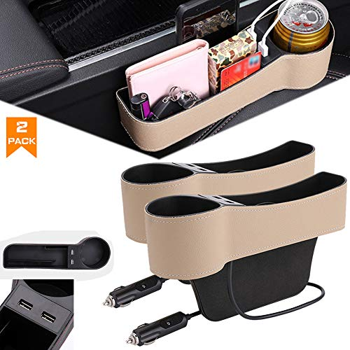 Airphe Car Seat Gap Organizer Filler Car Console Side Pocket PU Leather Car Seat Gap Filler with 2 USB Charging Car Console Side Organizer with Cup Holder for Cellphones Wallet Coin Key Rice-2pack