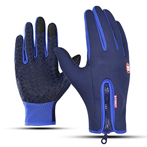 (Pudolla Touch Screen Running Sports Gloves Anti-Slip Winter Windproof Water Resistant Gloves for Snowboarding Cycling Driving Texting Women Men (RoyalBlue,M))