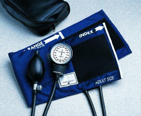 McKesson 01-776XMCE Standard Pocket Style Hand Held Aneroid Sphygmomanometer, Large Adult Cuff Size, Navy Blue