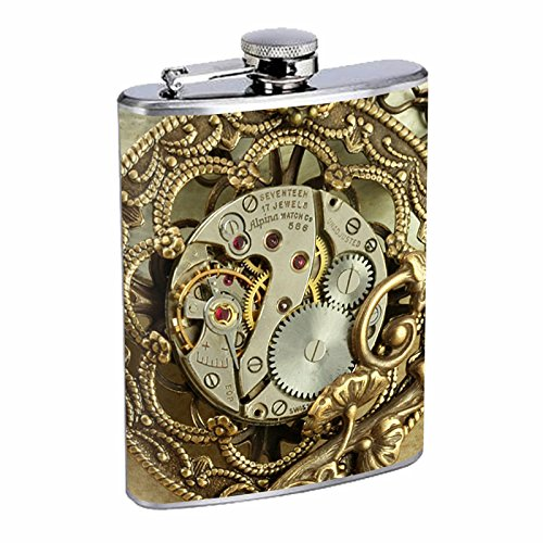 Vintage Steampunk Science Fiction Steam Powered Machine Art Flask S43 Stainless Steel 8oz Hip Silver Alcohol Whiskey Drinking Brandy Rum