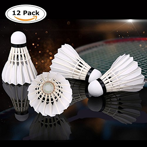 12-Pack ZN Advanced Goose Feather Badminton Shuttlecocks with Great Stability and Durability,Indoor Outdoor Sports Hight Speed Training Badminton Birdies Balls