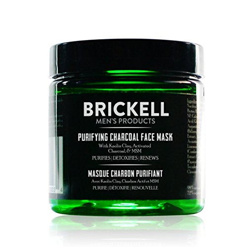 Brickell Men's Purifying Charcoal Face Mask, Natural and Organic Activated Charcoal Mask With Detoxifying Kaolin Clay, 5 Ounce, Scented