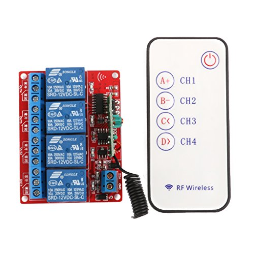 12V 4 Channel 4CH RF Wireless Remote Controll Switch Relay Module 433MHz (4 Channel Remote Control System For Relays)