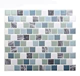 "tile bathroom wall Vamos Tile Premium Anti Mold Peel and Stick Tile Backsplash,Self Adhesive Wall Tiles for Kitchen & Bathroom-10 x 9"" (6 Sheets)"