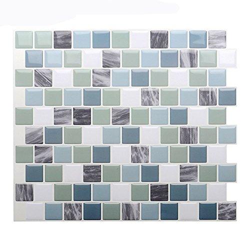 "Vamos Tile Premium Anti Mold Peel and Stick Tile Backsplash,Self Adhesive Wall Tiles for Kitchen & Bathroom-10 x 9"" (6 Sheets)"