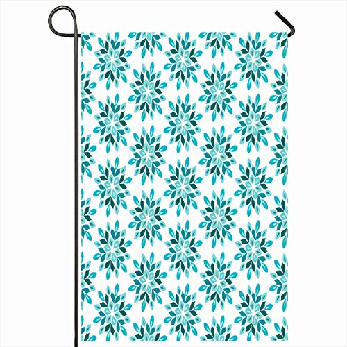 Ahawoso Outdoor Garden Flag 12x18 Inches Nature Flower Blue Autumn Floral Abstract Christmas Graphic Classic Crystal Curve Damask Geometric Grid Design Seasonal Double Sides House Yard Sign