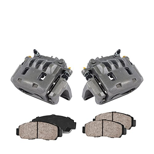 COEK00366 [2] FRONT Premium Loaded OE Caliper Assembly Set + Quiet Low Dust Ceramic Brake Pads