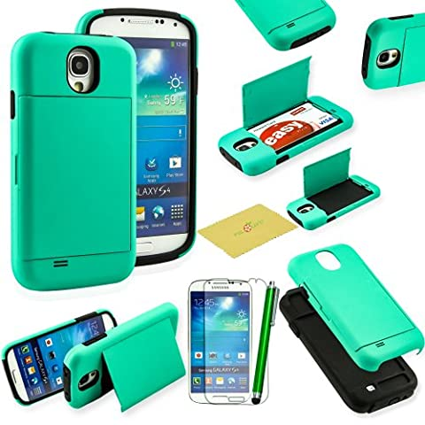Fulland Armor Hybrid Silicone Card Holder Kickstand Case with Stylus and Screen Protector for Samsung Galaxy S4 - Aqua (Galaxy S4 Cases With Card Holder)