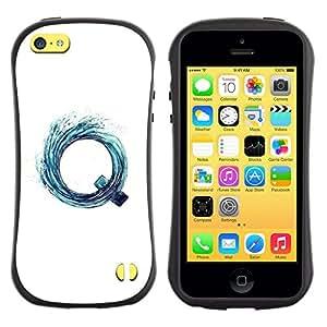 Paccase / Suave TPU GEL Caso Carcasa de Protección Funda para - Q Letter Vortex Aqua Water Surf White - Apple Iphone 5C