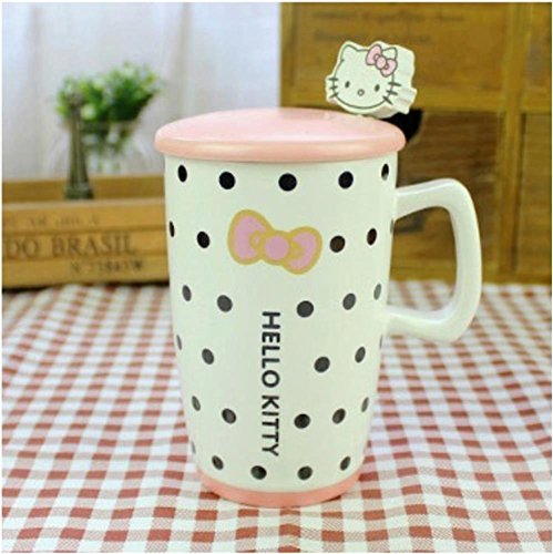 Finex Hello Kitty 10oz Color Coffee Mug Cup Set with Lid and Spoon (White/Dot)