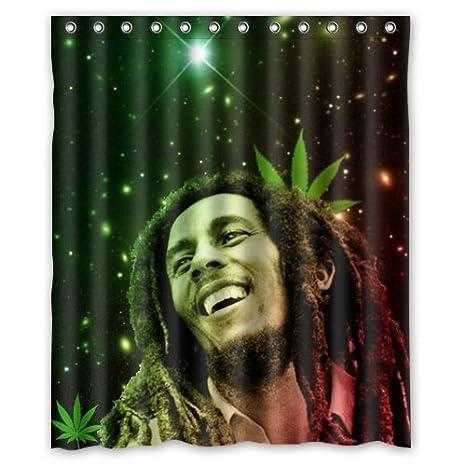 Bob Design Accessori Bagno.Fantastico Da Bagno Impermeabile Bob Marley Green Weed Tenda Da