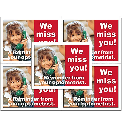 Laser Reminder Postcards, Optometric Appointment Reminder Postcards. 4 Cards Perforated for Tear-off at 4.25'' x 5.5'' on an 8.5'' x 11'' Sheet of 8 Pt Card Stock. OPT113-LZS (2500) by Custom Recall (Image #3)