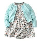 Newborn Baby Girls Sun Dress Cardigan Sweater Clothes Outfits Set Short Sleeve Skirt + Long Sleeve Cardigan Sky Blue 9-12Months