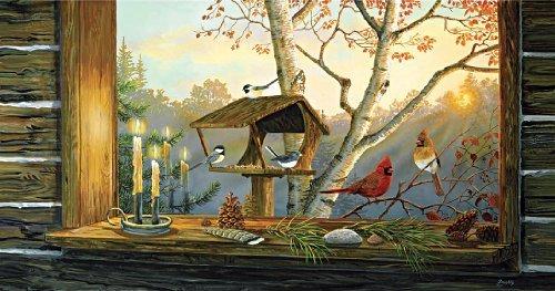 SunsOut Candlelit Window 1000 pc Jigsaw Puzzle - Theme: Bird and Birdhouse