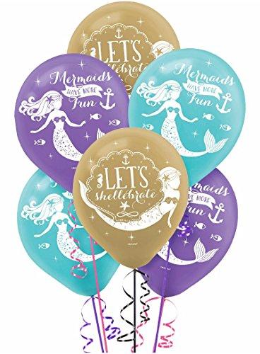 Besttt-Seller 12 inch Wishful Mermaid Balloons party supplies Mermaid Latex Balloons - blue, gold, and purple, 6 pack ()