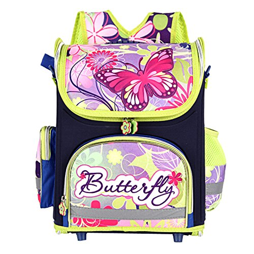 Vere Gloria Butterfly School Backpack Bag for Primary Girl Students(blue)