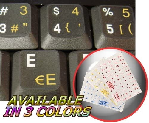 DUTCH BELGIAN TRANSPARENT BACKGROUND KEYBOARD STICKERS WITH YELLOW LETTERING