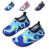 lewhosy Kids Boys and Girls Swim Water Shoes Quick Drying Barefoot Aqua Socks Shoes for Beach Pool Surfing Yoga(24/Octopus Blue)