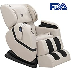 Uenjoy Zero Gravity Massage Recliner Full Body Massage Chair Shiatsu Massage Chair with Heat and Foot Rollers White