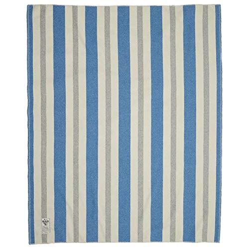 Woolrich Home Indigo Gray Vertical Stripe Wool Blanket