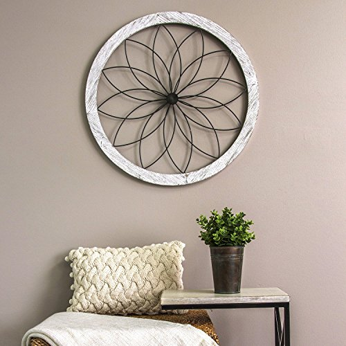 Stratton Home Decor Flower Metal and Wood Art Deco Wall Decor, White by Stratton Home Decor (Image #1)