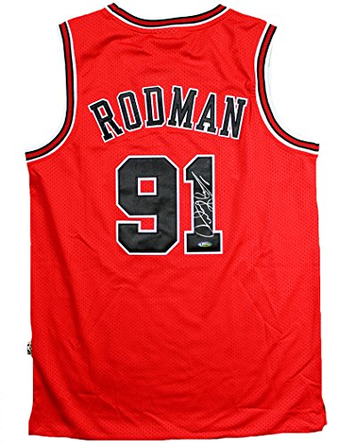 Dennis Rodman Signed Autographed Chicago Bulls Adidas Red Jersey TRISTAR COA Dennis Rodman Hand Signed